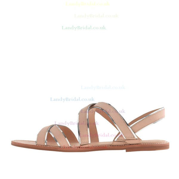 Women's Champagne Real Leather Flat Heel Sandals