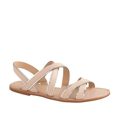 Women's Champagne Real Leather Flat Heel Sandals #LDB03030803