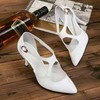 Women's White Patent Leather Stiletto Heel Pumps #LDB03030804