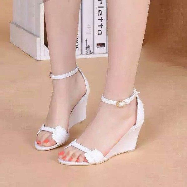 Women's White Patent Leather Wedge Heel Sandals #LDB03030805