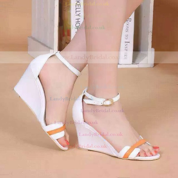 Women's White Patent Leather Wedge Heel Sandals