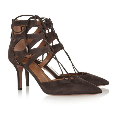 Women's Coffee Suede Stiletto Heel Pumps #LDB03030806