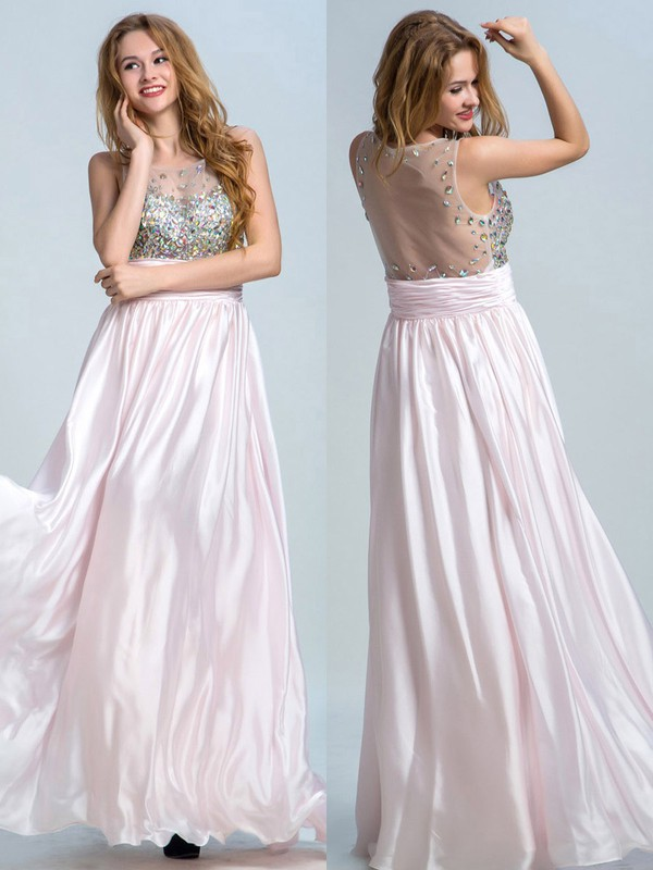 Inexpensive Scoop Neck Tulle Chiffon Crystal Detailing Pearl Pink A-line Prom Dresses #LDB02014822