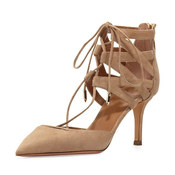 Women's Champagne Suede Stiletto Heel Pumps #LDB03030807