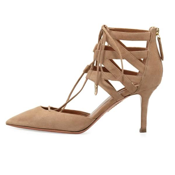 Women's Champagne Suede Stiletto Heel Pumps
