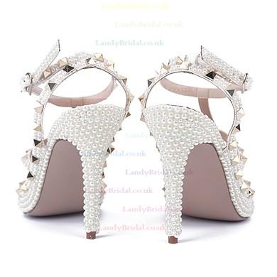 Women's White Patent Leather Stiletto Heel Pumps #LDB03030808