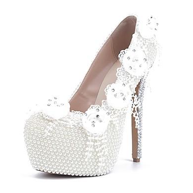 Women's White Patent Leather Stiletto Heel Pumps #LDB03030810