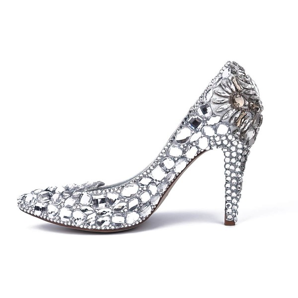 Women's Silver Patent Leather Stiletto Heel Pumps #LDB03030811