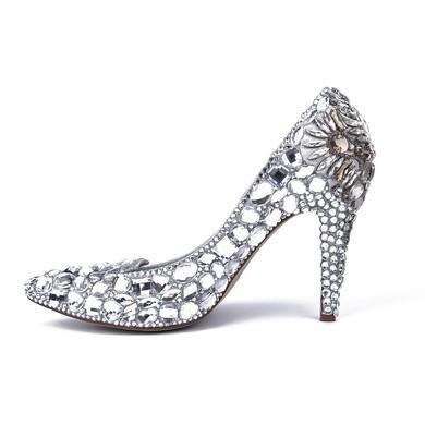 Women's Silver Patent Leather Stiletto Heel Pumps #LDB03030811
