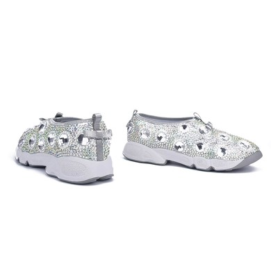 Women's Silver Patent Leather Flat Heel Sneakers #LDB03030813