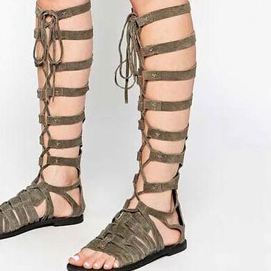 Women's White Suede Flat Heel Sandals #LDB03030815
