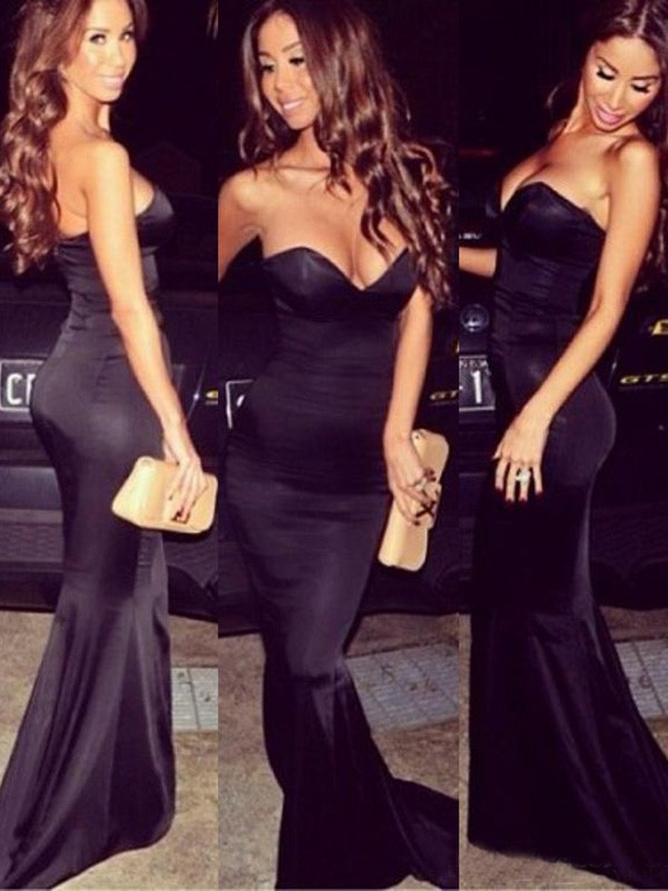 Coolest Gold Silk-like Satin Trumpet/Mermaid Ruffles Sweetheart Prom Dress #LDB02016262