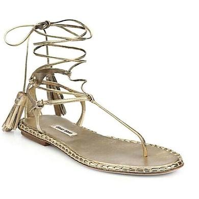 Women's Light Golden Real Leather Flat Heel Sandals #LDB03030818