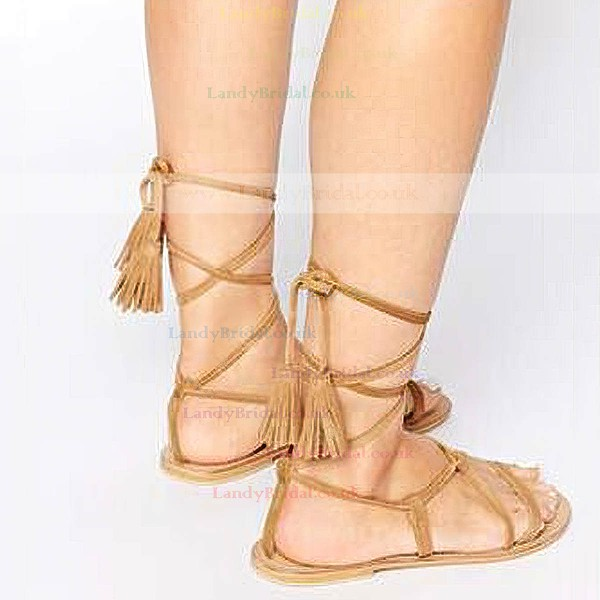 Women's White Suede Flat Heel Sandals