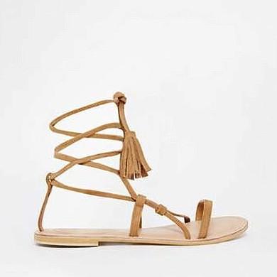Women's White Suede Flat Heel Sandals #LDB03030819
