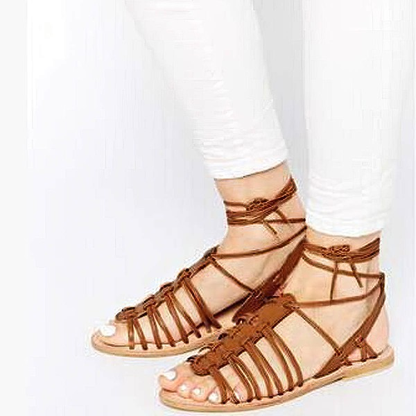Women's Brown Real Leather Flat Heel Sandals