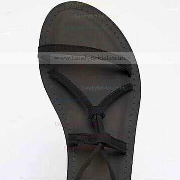 Women's Black Suede Flat Heel Sandals