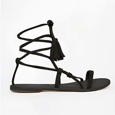 Women's Black Suede Flat Heel Sandals #LDB03030821
