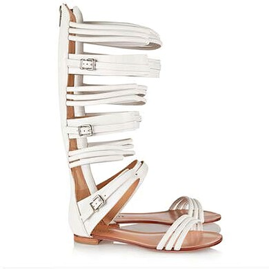 Women's White Real Leather Flat Heel Sandals #LDB03030822
