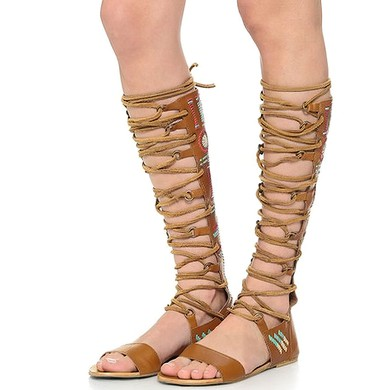 Women's Black Real Leather Flat Heel Sandals #LDB03030824
