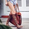 Women's Gray Suede Flat Heel Sandals #LDB03030825
