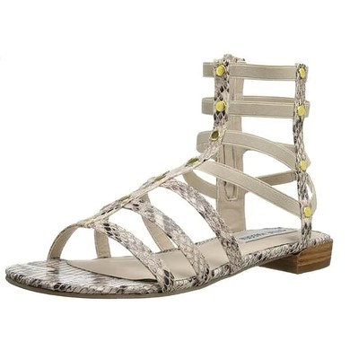 Women's White Real Leather Flat Heel Sandals #LDB03030826