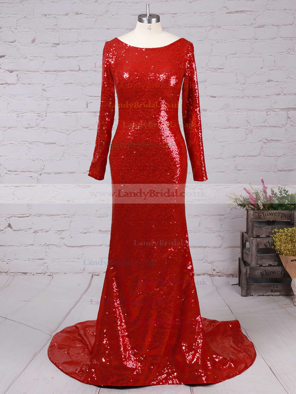 Trumpet/Mermaid Open Back Long Sleeve Burgundy Sequined Scoop Neck Prom Dress #LDB02016266