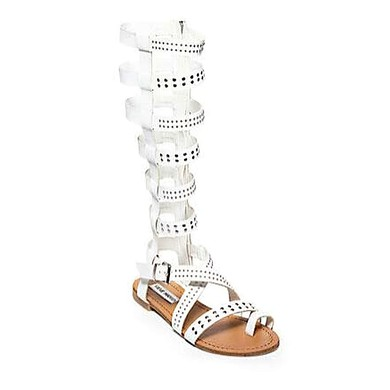 Women's White Real Leather Flat Heel Sandals #LDB03030827