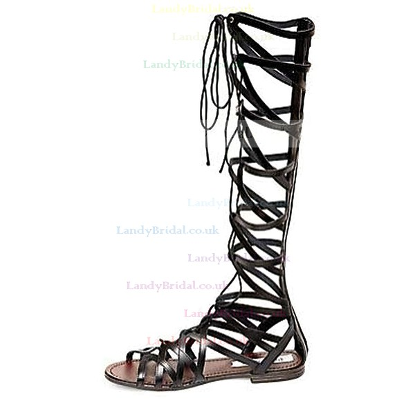 Women's Black Real Leather Flat Heel Sandals