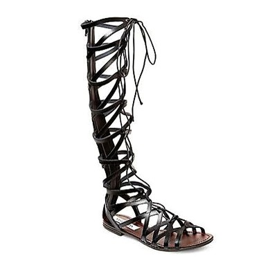 Women's Black Real Leather Flat Heel Sandals #LDB03030828