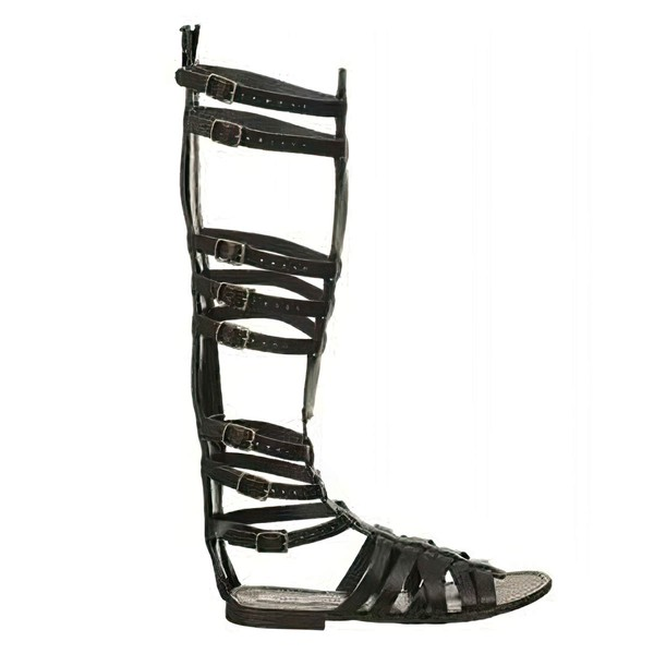 Women's Black Real Leather Flat Heel Sandals #LDB03030833