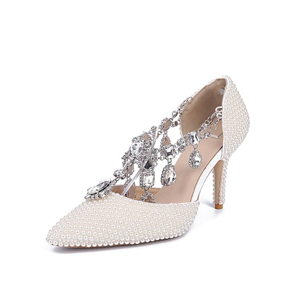 Women's White Patent Leather Stiletto Heel Pumps #LDB03030835