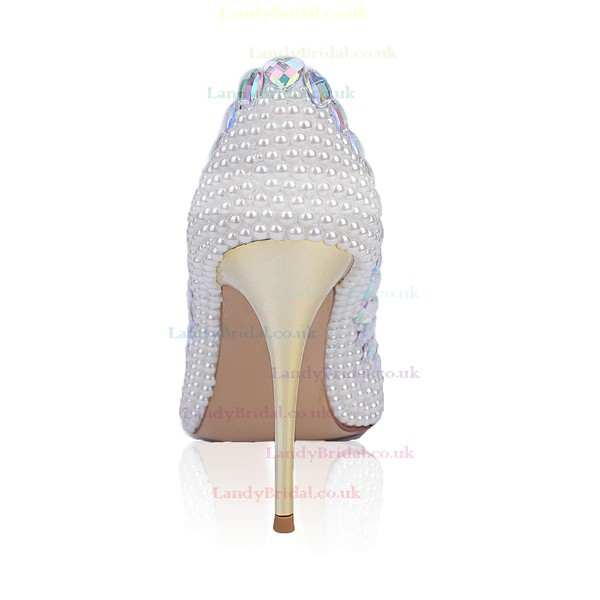Women's White Patent Leather Stiletto Heel Pumps #LDB03030836