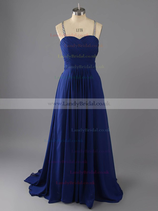 Royal Blue Chiffon Open Back Sweep Train Beading and Pleats Sweetheart Prom Dresses #LDB02016896