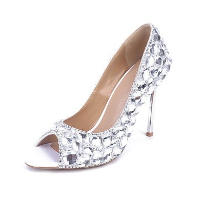 Women's Silver Patent Leather Stiletto Heel Pumps #LDB03030837