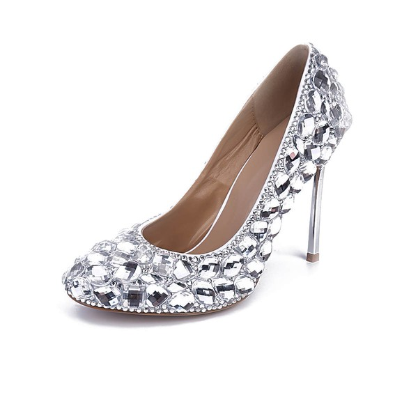 Women's Silver Patent Leather Stiletto Heel Pumps #LDB03030840