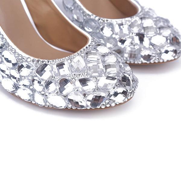 Women's Silver Patent Leather Stiletto Heel Pumps