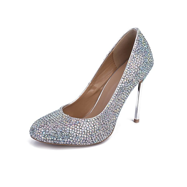 Women's Silver Real Leather Stiletto Heel Pumps #LDB03030841