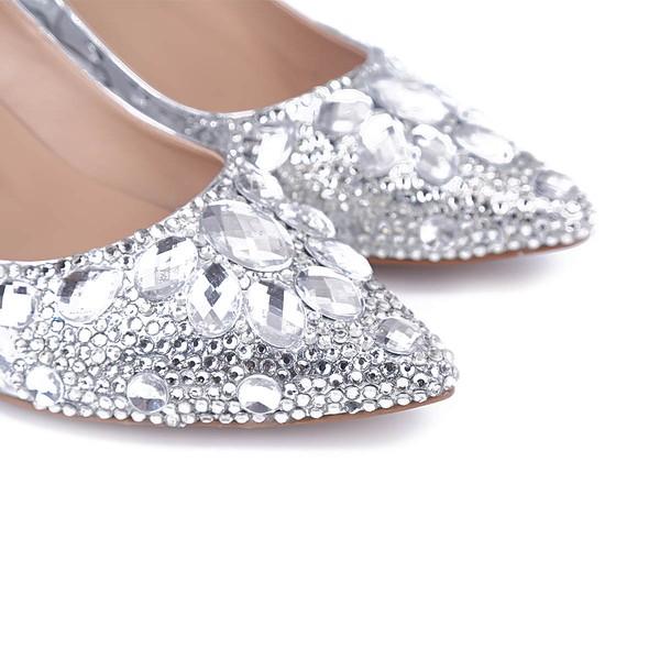 Women's Silver Real Leather Kitten Heel Pumps