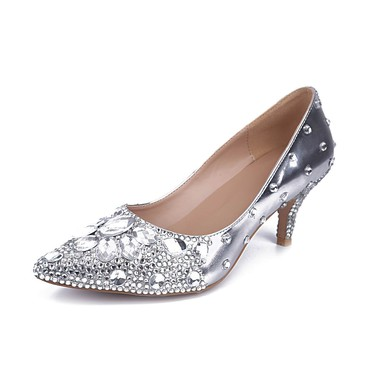 Women's Silver Real Leather Kitten Heel Pumps #LDB03030842