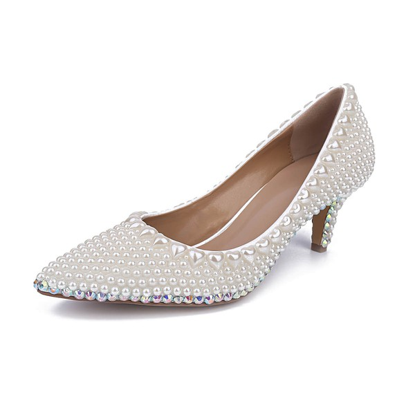 Women's White Patent Leather Kitten Heel Pumps #LDB03030843