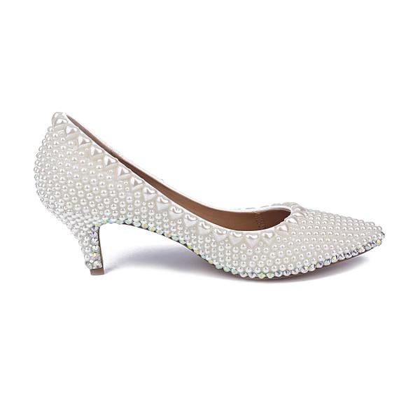Women's White Patent Leather Kitten Heel Pumps