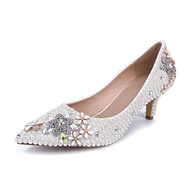 Women's White Patent Leather Kitten Heel Pumps #LDB03030844