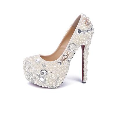 Women's White Patent Leather Stiletto Heel Pumps #LDB03030846