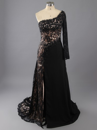 Sweep Train Royal Blue Lace Chiffon 3/4 Sleeve Split Front One Shoulder Prom Dress #LDB02017307