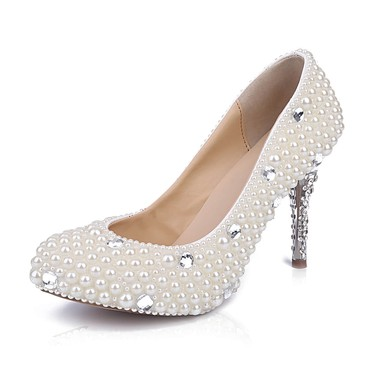 Women's White Patent Leather Stiletto Heel Pumps #LDB03030849