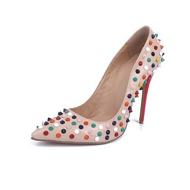 Women's Pale Pink Patent Leather Stiletto Heel Pumps #LDB03030850