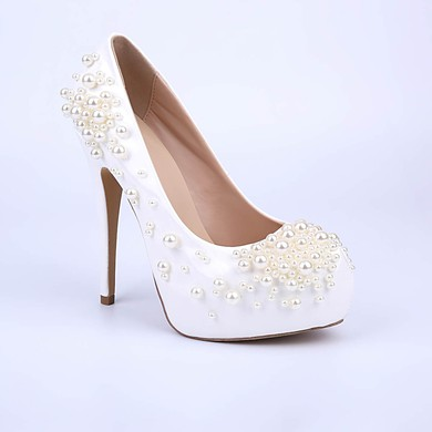 Women's White Patent Leather Stiletto Heel Pumps #LDB03030851