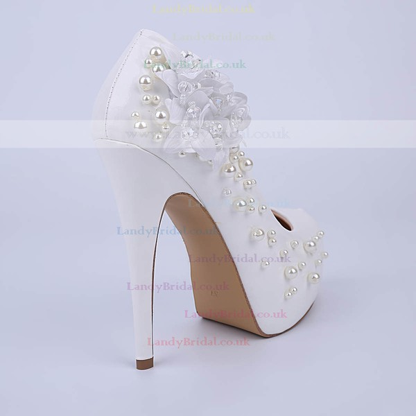 Women's White Patent Leather Stiletto Heel Pumps #LDB03030852