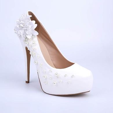 Women's White Patent Leather Stiletto Heel Pumps #LDB03030852